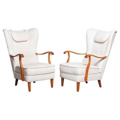 1950's Pair Scandinavian Wingback Lounge Chairs by Wilhelm Knoll Malmö Sweden