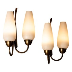 1950's Pair Switchable Italian Modernist Wall Lights in Brass, Metal and Opal
