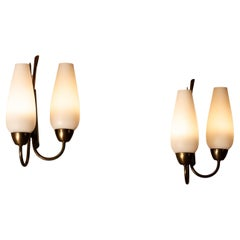 1950s Pair Switchable Italian Modernist Wall Lights in Brass, Metal and Opal