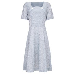 1950s Pale Blue Embroidered Cotton Dress