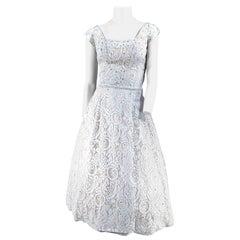 1950s Pale Blue Lace Cocktail Dress