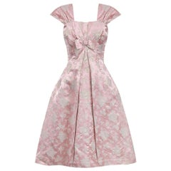 1950s Pale Pink and Gold Brocade Rose Print Couture Dress With Bow