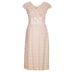 1950s Pale Pink Lace Tiered Dress With Rhinestone Detail