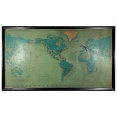 1950s Pan American World Airways Systems Map, Blue/Red Pins with Routes
