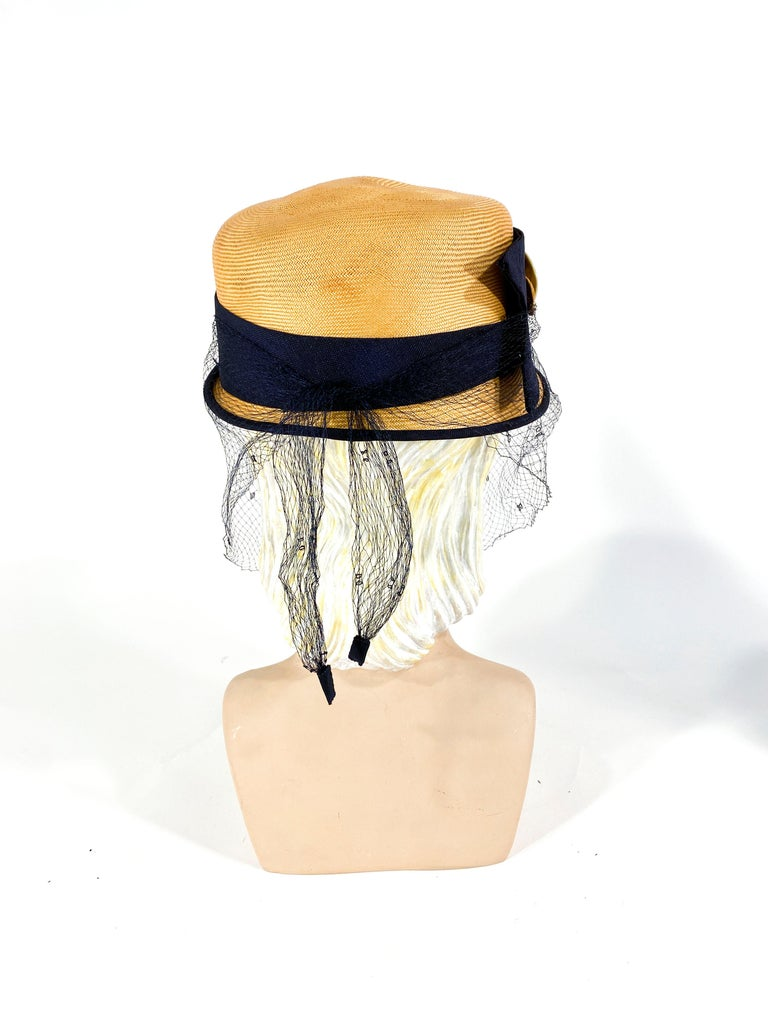 Women's 1950s Panama Pill Box with Veil For Sale