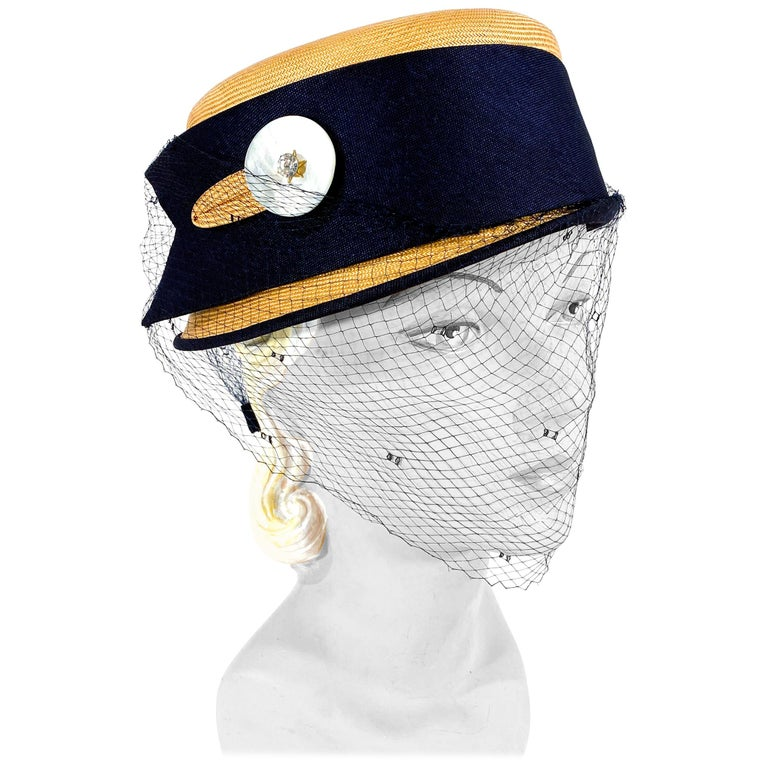 1950s Panama Pill Box with Veil For Sale