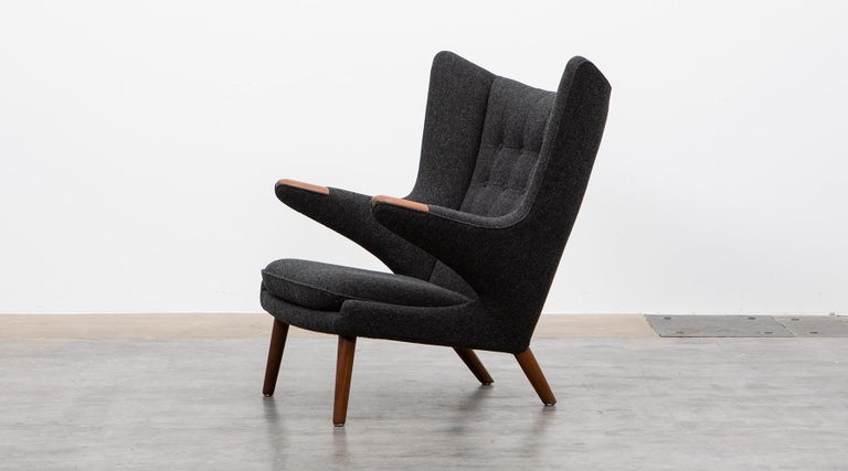 Papa Bear chair by Hans Wegner manufactured by A.P. Stolen, Denmark, 1951  Wonderful original Papa Bear chair designed by Hans Wegner. This ingenious piece comes in perfect condition, recently new upholstery with high-qualitiy woolen fabric in warm