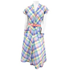 1950s Pastel Rainbow Plaid Cotton Day Dress