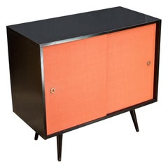 1950s Paul McCobb Brass Black Orange Planner Group Credenza Luxury Glam Danish