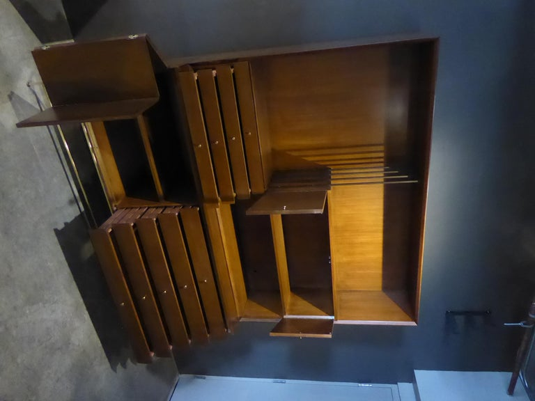 1950s Paul McCobb Irwin Collection Mahogany and Brass Credenza/Wall Unit For Sale 3