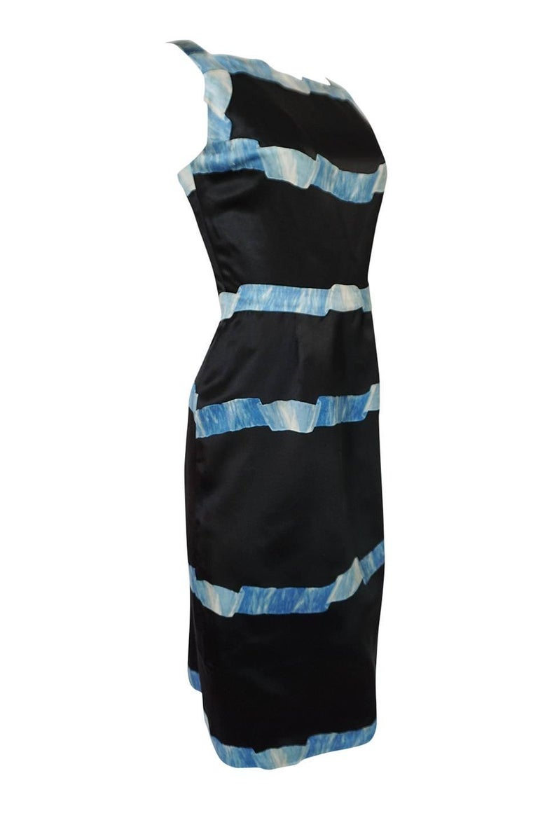 Pauline Trigere Blue Ribbon Printed Black Silk Dress, 1950s  In Excellent Condition For Sale In Toronto, ON