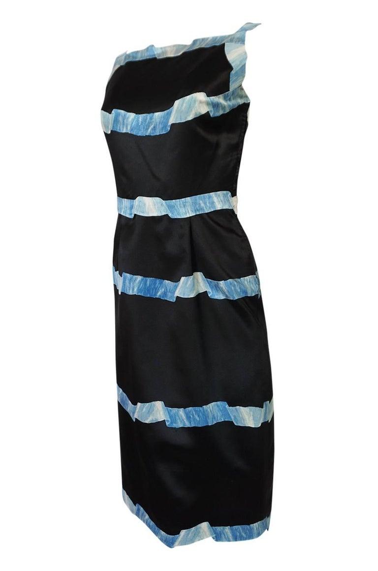 Women's Pauline Trigere Blue Ribbon Printed Black Silk Dress, 1950s  For Sale