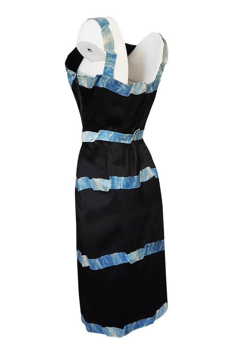Pauline Trigere Blue Ribbon Printed Black Silk Dress, 1950s  For Sale 1