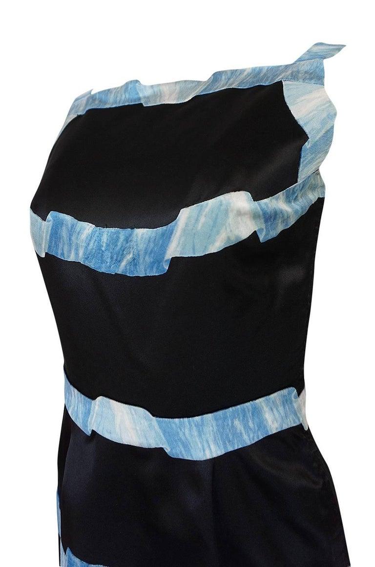 Pauline Trigere Blue Ribbon Printed Black Silk Dress, 1950s  For Sale 3