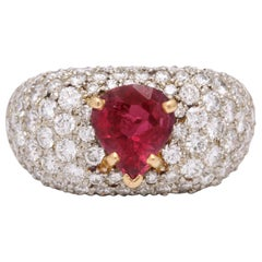 1950s Pear Shaped Ruby with Diamonds Gold and Platinum Dinner Ring
