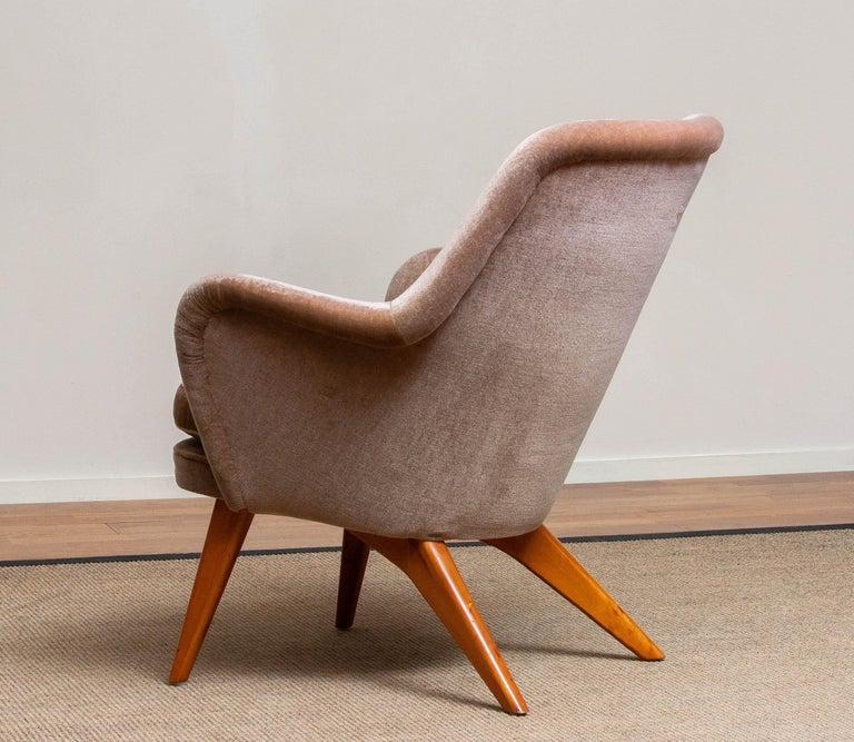 Velvet 1950s Pedro Chair by Carl Gustav Hiort af Ornäs for Puunveisto Oy-Trasnideri