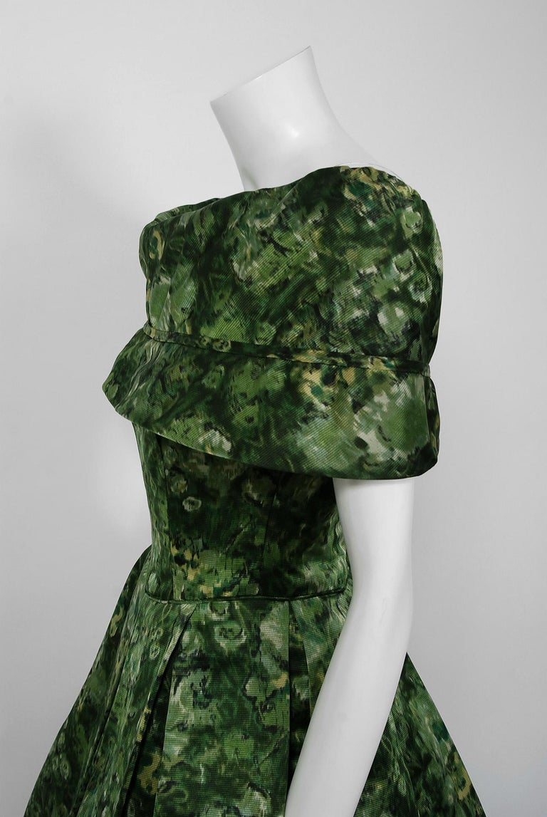 Women's Vintage 1950's Peggy Hunt Green Floral Silk Portrait-Collar Pleated Full Dress  For Sale