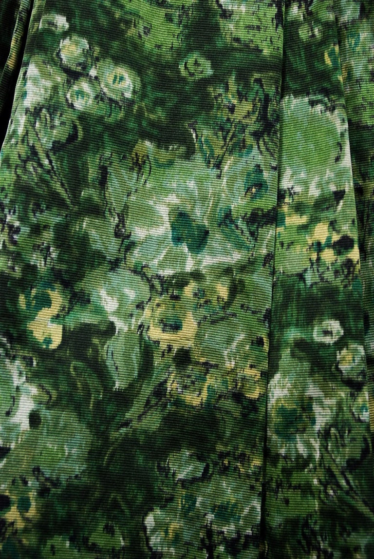 Vintage 1950's Peggy Hunt Green Floral Silk Portrait-Collar Pleated Full Dress  For Sale 1