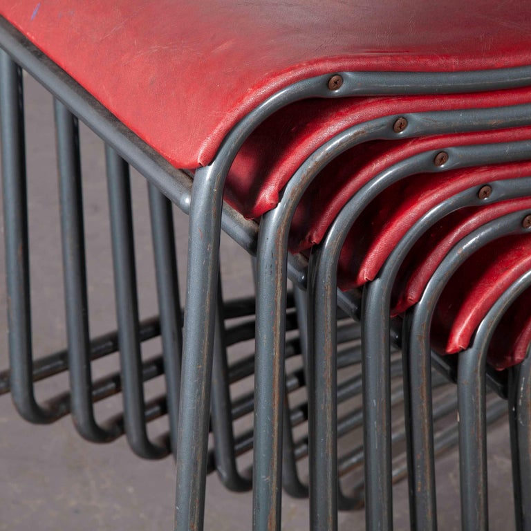 1950s PEL tubular metal upholstered dining chairs - set of eight