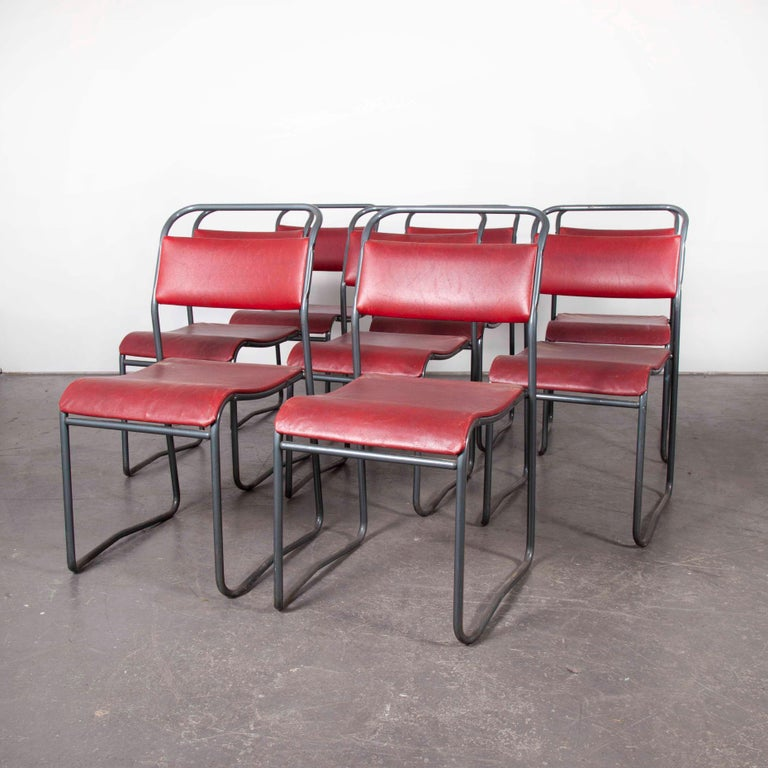 Mid-20th Century 1950s PEL Tubular Metal Upholstered Dining Chairs, Set of Eight For Sale