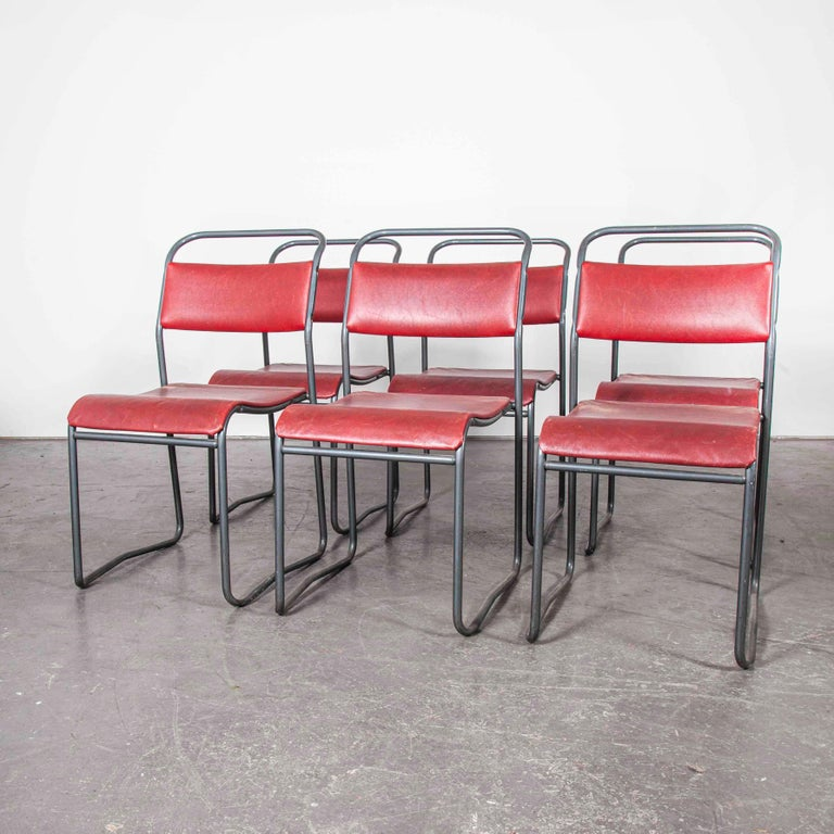 British 1950s PEL Tubular Metal Upholstered Stacking Dining Chairs, Set of Six For Sale
