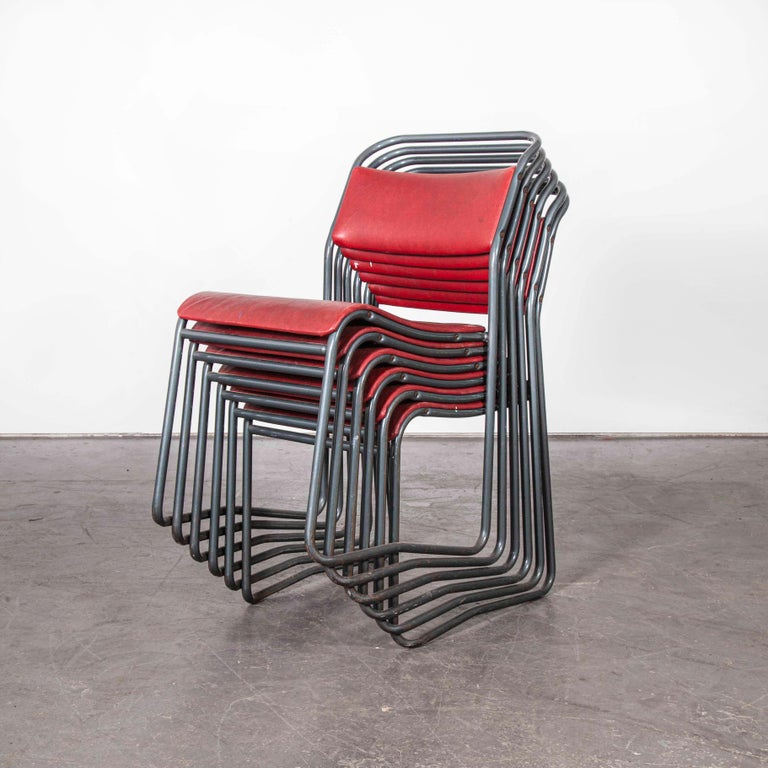 Mid-20th Century 1950s PEL Tubular Metal Upholstered Stacking Dining Chairs, Set of Six For Sale