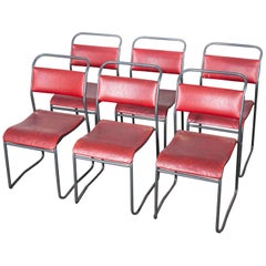 1950s PEL Tubular Metal Upholstered Stacking Dining Chairs, Set of Six