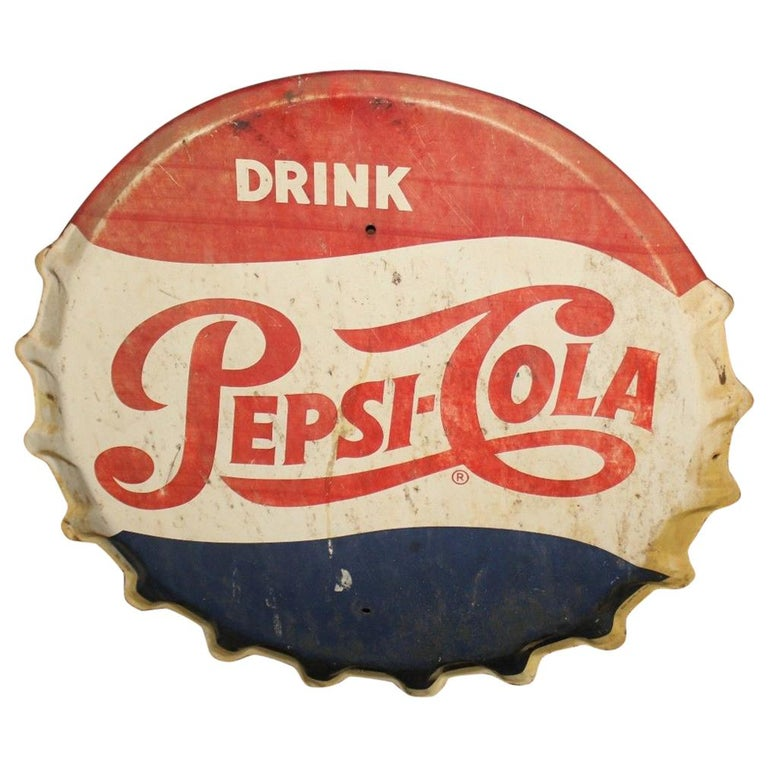 1950s Pepsi-Cola Soda Button Bottle Cap Advertising Metal Sign For Sale 558cc1af94c