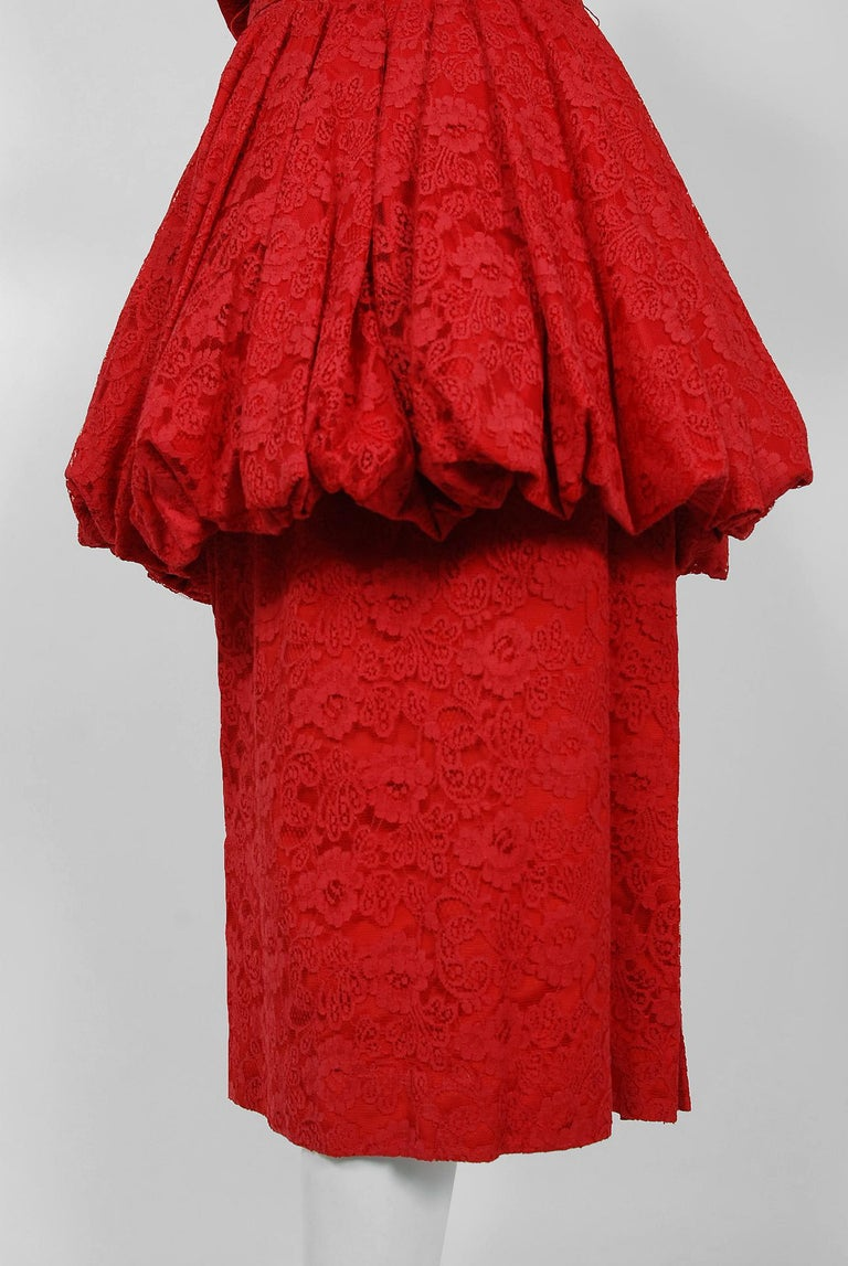 Women's Vintage 1950's Perdieu Cherry-Red Lace Sweetheart Belted Peplum Cocktail Dress  For Sale