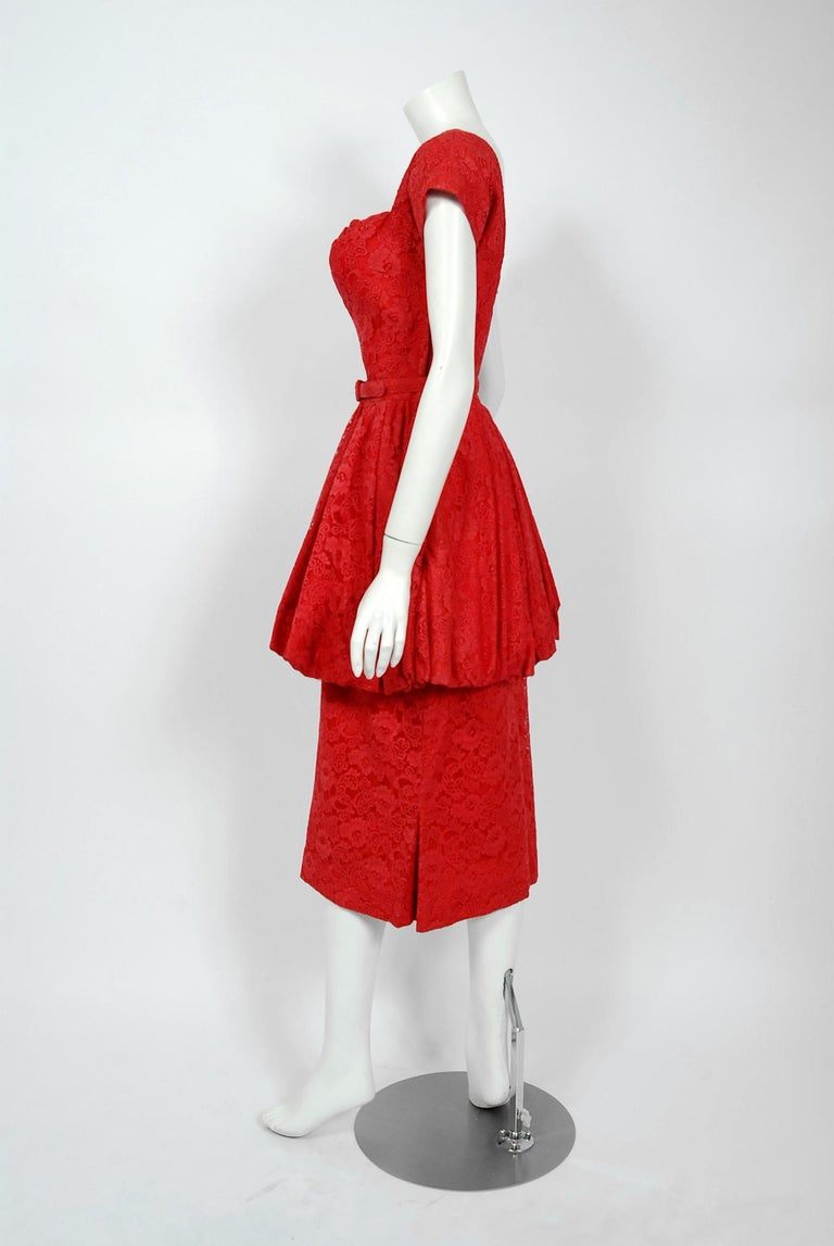 Vintage 1950's Perdieu Cherry-Red Lace Sweetheart Belted Peplum Cocktail Dress  For Sale 1
