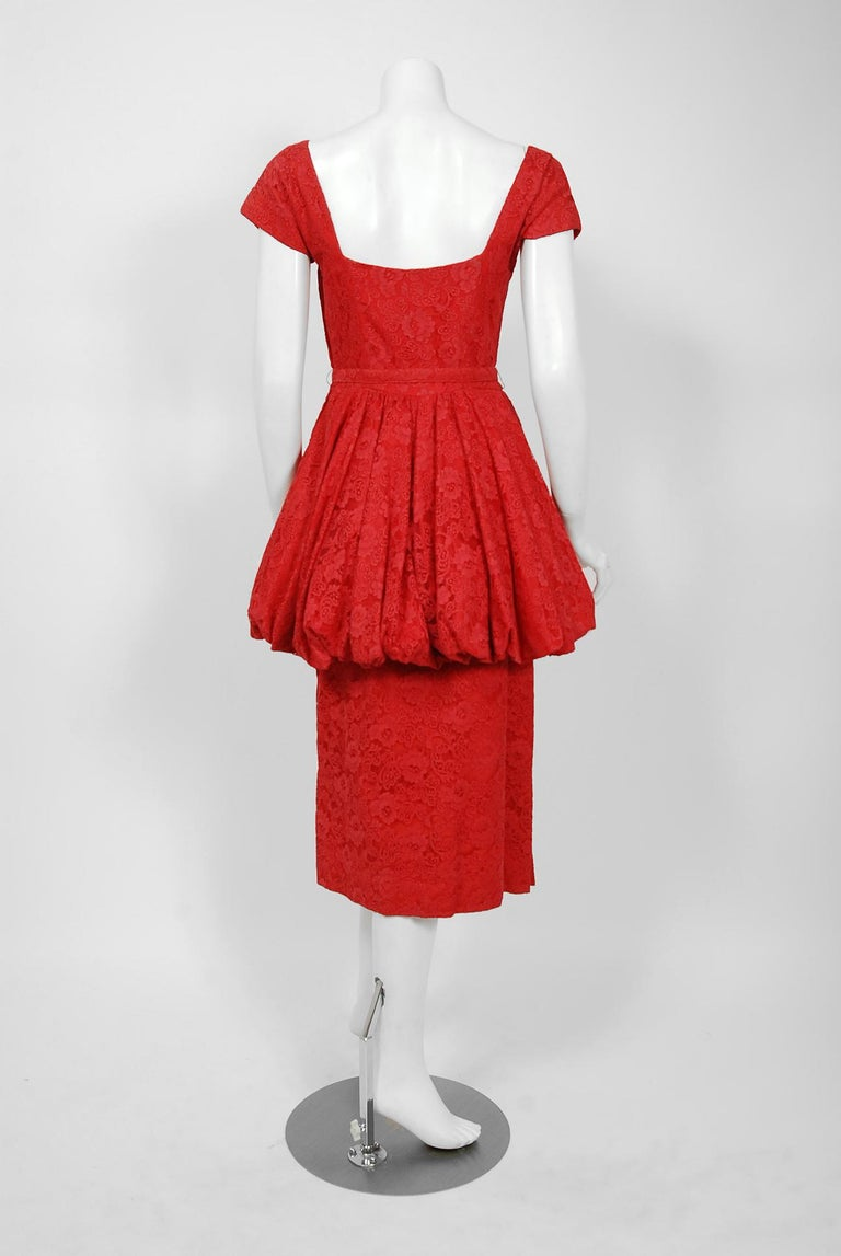Vintage 1950's Perdieu Cherry-Red Lace Sweetheart Belted Peplum Cocktail Dress  For Sale 2