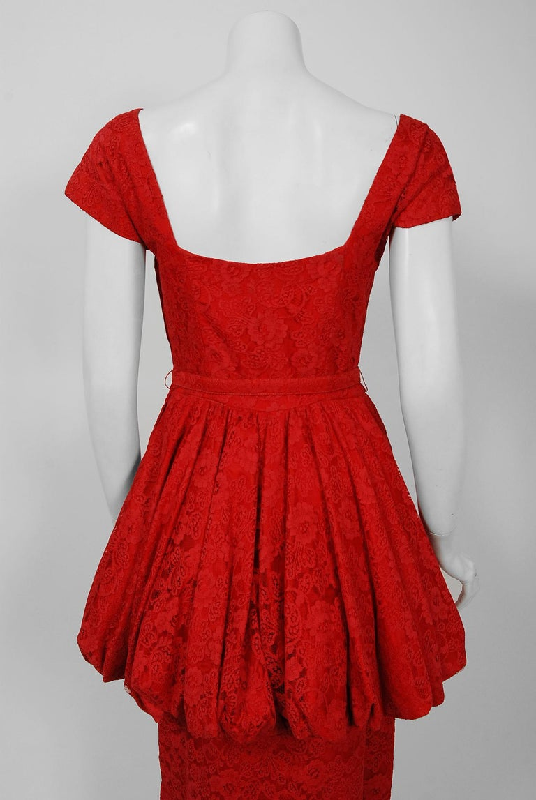Vintage 1950's Perdieu Cherry-Red Lace Sweetheart Belted Peplum Cocktail Dress  For Sale 3