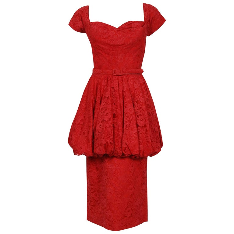 9f1d41343544 1950's Perdieu Cherry-Red Lace Sweetheart Belted Peplum Cocktail Party Dress  For Sale