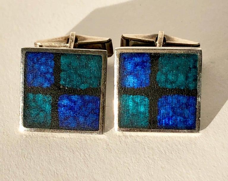 Men's 1950s Perli German Modernist Blue Grid Silver Enamel Cufflinks For Sale