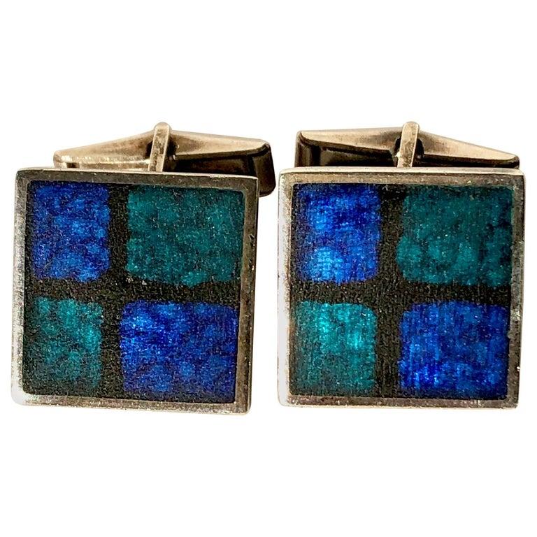 1950s Perli German Modernist Blue Grid Silver Enamel Cufflinks For Sale