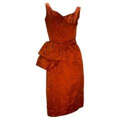 1950s Persimmon Hong Kong Silk Sleeveless Sheath Dress w/ Obi-Inspired Belt