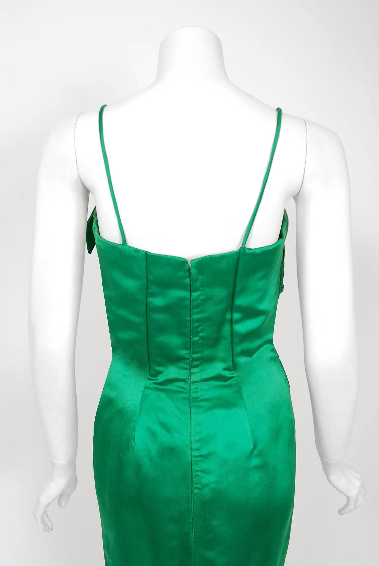 1950\'s Philip Hulitar Emerald Green Satin Ruched Hourglass Evening ...