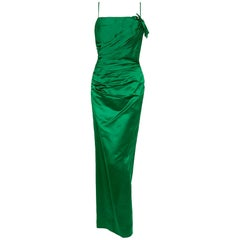 1950's Philip Hulitar Emerald Green Satin Ruched Hourglass Evening Dress Gown