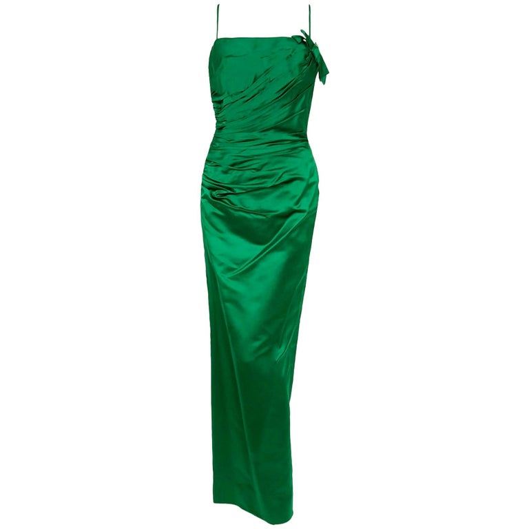 d30a7e4598a5c 1950's Philip Hulitar Emerald Green Satin Ruched Hourglass Evening Dress  Gown For Sale