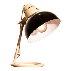 1950s, Philips Metal Desk or Table Lamp in Off-White and Black