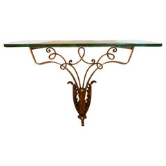 1950s Pier Luigi Colli Golden with Spotted Detail Wrought Iron Console Table
