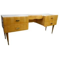 1950s Pier Luigi Colli Vintage Italian Design Cream & Honey Ashwood Modern Desk