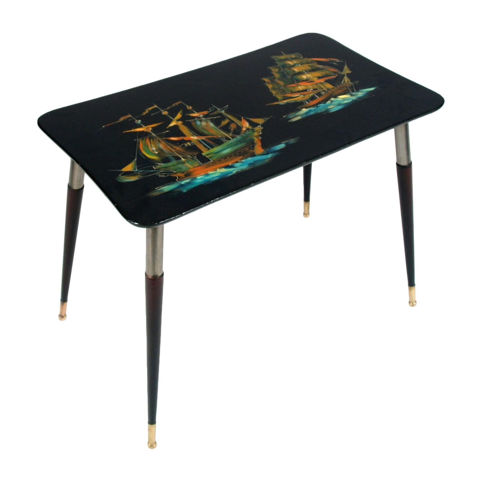 1950s Piero Fornasetti Attributed Coffee Table Lacquered, Printed Sails on Top