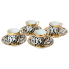 1950s Piero Fornasetti 'Cammei' Espresso Cups and Saucers, Italy