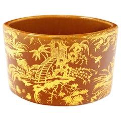 1950s Piero Fornasetti 'Piccolo Coromandel' Gold Leaf Ceramic Vase