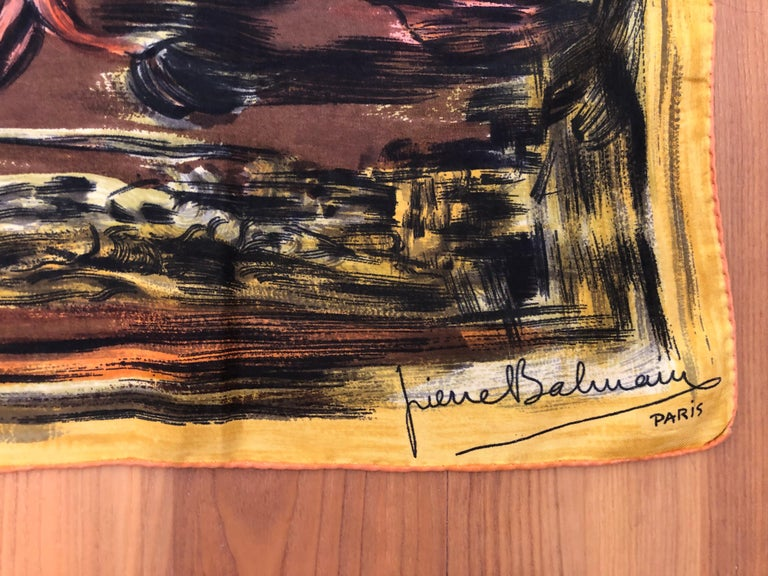 In excellent condition for a scarf this age, this scarf has a nice brown background with orange, yellow, black and salmon pink splashes. When you tire of wearing it, frame it!