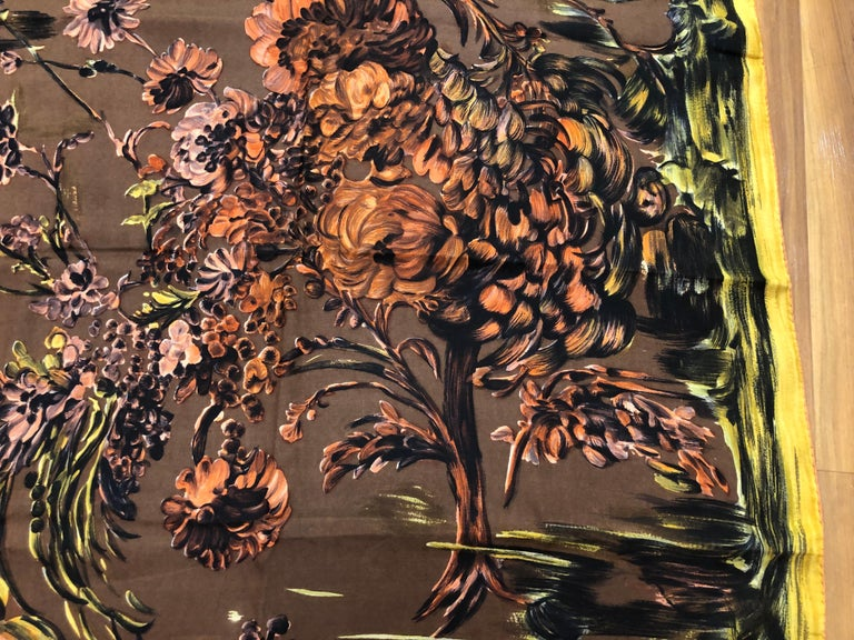Black 1950s Pierre Balmain Floral and Brushstroke Silk Twill Scarf 30x29.5 For Sale