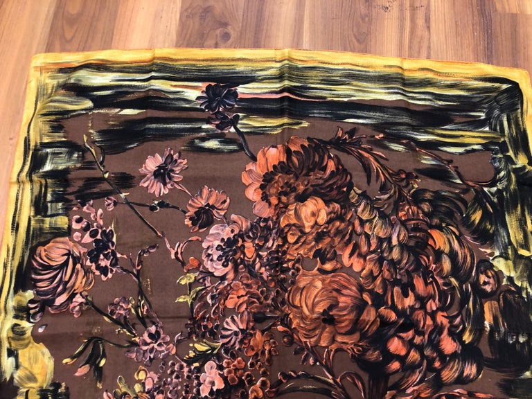 Women's 1950s Pierre Balmain Floral and Brushstroke Silk Twill Scarf 30x29.5 For Sale