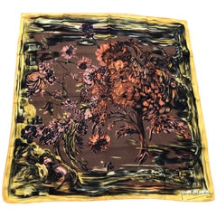 1950s Pierre Balmain Floral and Brushstroke Silk Twill Scarf 30x29.5