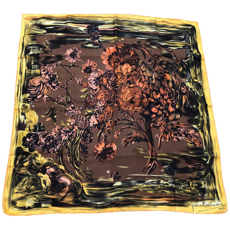 1950s Pierre Balmain Floral and Brushstroke Silk Twill Scarf 30x29.5 For Sale